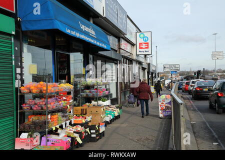 Perry Barr railway station, Birmingham, UK.  Street scene looking north along the A34 Walsall Rd. - Stock Photo