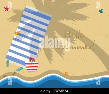 Hello Summer Square Banner. Top View of Exotic Empty Beach with Towel, Bag, Slippers and Foot Prints on Sand. Palm Tree Shadow. Sea Stars, Seashells.  - Stock Photo