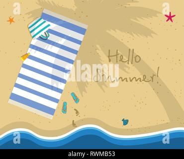 Hello Summer Square Banner. Top View of Sunny Beach From Above. Summertime Vacation Background. Towel Lying under Palm Tree. Footprints on Yellow Sand - Stock Photo