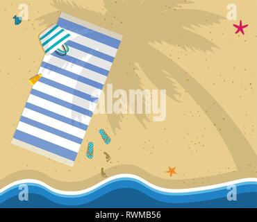 Summer Time Background with Copy Space. Top View of Sea Beach with Towel, Bag, Flip Flops and Footprints on Sand. Palm Tree Shadow on Seaside. Seashel - Stock Photo