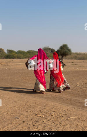 Woman fetching water in the the Thar Desert, Khuri , Rajasthan, India, Asia - Stock Photo