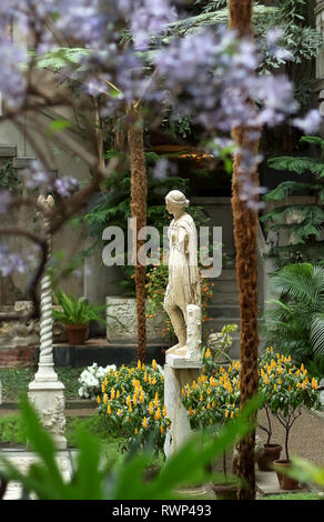 Boston, Massachusetts - March 6, 2019: Antique statue of Roman goddess (Artemis or Amazon) in the Isabella Stewart Gardner Museum, Fenway park, Boston - Stock Photo
