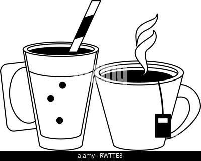 Hot coffee and tea cups in black and white - Stock Photo