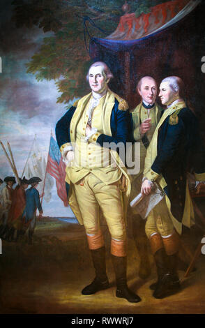 George Washington with Lafayette and Tench Tilghman at Yorktown, 1784 portrait painting by Charles Willson Peale - Stock Photo