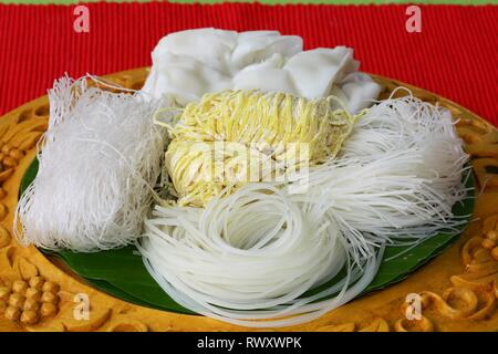 different type of noodle on wood tray - Stock Photo