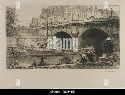 The Pont-Neuf. Louis Auguste Lepère; French, 1849-1918. Date: 1901. Dimensions: 172 × 310 mm (image); 209 × 320 mm (plate); 240 × 341 mm (sheet). Etching on cream wove paper. Origin: France. Museum: The Chicago Art Institute. - Stock Photo