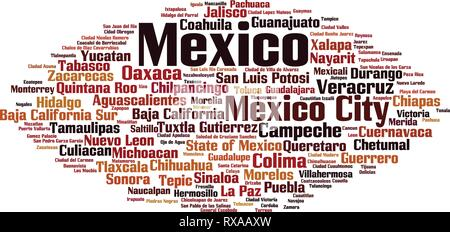 Cities in Mexico word cloud concept. Vector illustration - Stock Photo