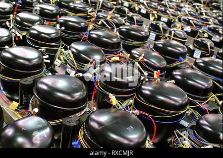 Storage of refrigerant compressors for cold rooms - Stock Photo