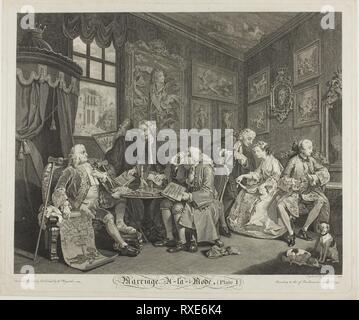Plate One, from Marriage à la Mode. Gérard Scotin II (French, 1698-1755); after William Hogarth (English, 1697-1764). Date: 1745. Dimensions: 353 × 440 mm (image); 384 × 465 mm (plate); 402 × 480 mm (sheet). Etching and engraving in black on ivory laid paper. Origin: France. Museum: The Chicago Art Institute. - Stock Photo