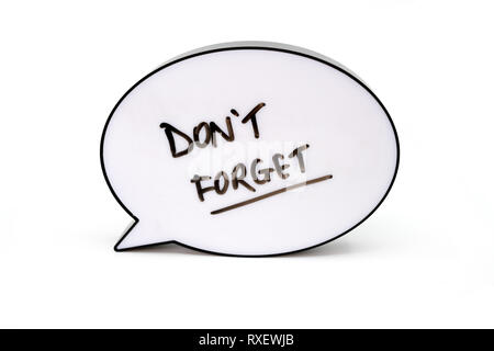 the words don't forget written in a speech bubble screen - Stock Photo
