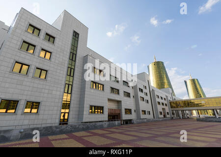 Astana, Kazakhstan, August 2 2018: Business district with modern houses of ministries in the center of Astana, Kazakhstan - Stock Photo