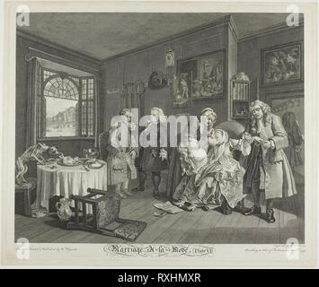 Plate Six, from Marriage à la Mode. Gérard Scotin II (French, 1698-1755); after William Hogarth (English, 1697-1764). Date: 1745. Dimensions: 352 × 440 mm (image); 386 × 465 mm (plate); 404 × 480 mm (sheet). Etching and engraving in black on ivory laid paper. Origin: France. Museum: The Chicago Art Institute. - Stock Photo