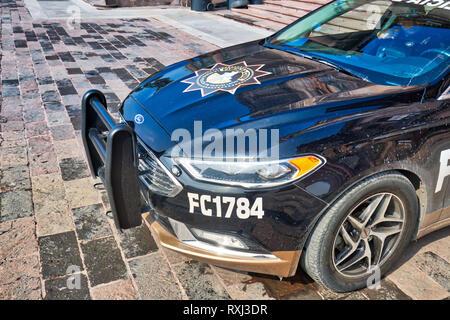 Monterrey, Mexico-9 December, 2018: Police car patrolling Macroplaza in Monterrey near Palacio del Gobierno (Government Palace) - Stock Photo
