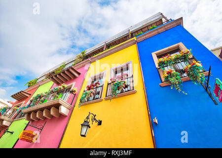 Monterrey, Mexico-9 December, 2018: Colorful historic buildings in the center of the old city (Barrio Antiguo) at a peak tourist season - Stock Photo