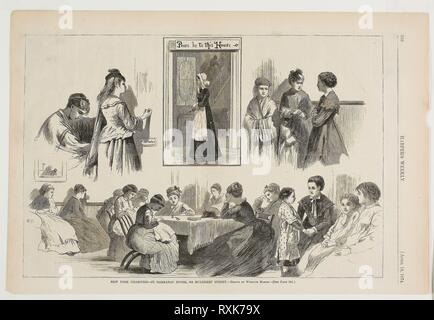 New York Charities--St Barnabas House, 304 Mulberry Street. Winslow Homer (American, 1836-1910); published by Harper's Weekly (American, 1857-1916). Date: 1874. Dimensions: 232 x 244 mm (image); 271 x 402 mm (sheet). Wood engraving on paper. Origin: United States. Museum: The Chicago Art Institute. - Stock Photo