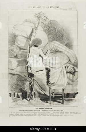 The Hydropaths: Third Treatment (plate 3). Charles Émile Jacque; French, 1813-1894. Date: 1843. Dimensions: 263 × 199 mm (image); 351 × 236 mm (sheet). Lithograph in black on ivory wove paper. Origin: France. Museum: The Chicago Art Institute. - Stock Photo