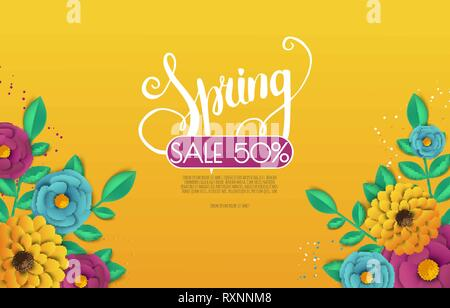 Spring sale banner with paper flowers on a white background. - Stock Photo