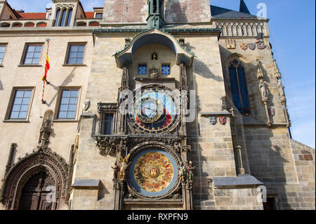 The Astronomical Clock on the Old Town Hall in the Old Town Square, Prague (Praha), Czech Republic - Stock Photo