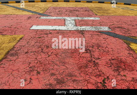 A close up side view of the designated helicopter landing area for the emergency hospital helicopters - Stock Photo
