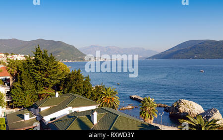 Mediterranean landscape on sunset. Montenegro, Adriatic Sea, Bay of Kotor, Savina village - Stock Photo