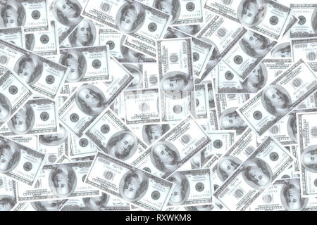 Many blur dollars stacked on white background. Concept of Get a lot of profit from doing business. Suitable for backgrounds, business articles, etc. - Stock Photo
