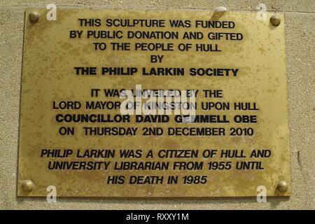 Plaque on statue of poet Philip Larkin, Kingston upon Hull, East Yorkshire - Stock Photo
