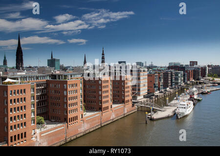 new office buildings, Speicherstadt, Hamburg, Germany - Stock Photo
