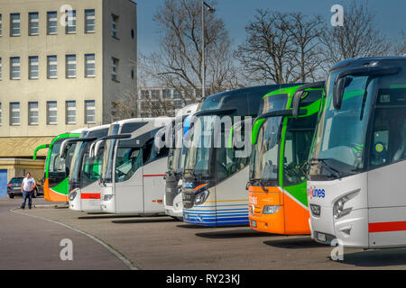 Bus Parkplatz, AVUS Nord, Westend, Charlottenburg, Berlin, Deutschland - Stock Photo