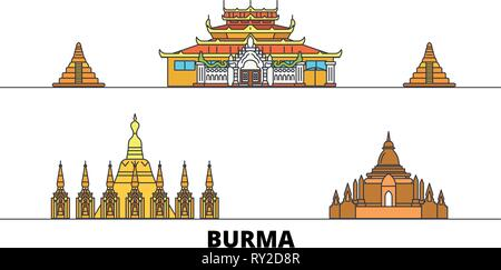 Burma flat landmarks vector illustration. Burma line city with famous travel sights, skyline, design.  - Stock Photo