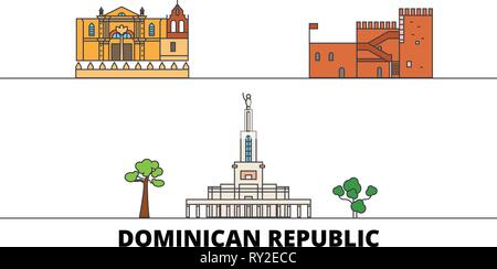 Dominican Republic flat landmarks vector illustration. Dominican Republic line city with famous travel sights, skyline, design.  - Stock Photo