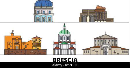 Italy, Brescia flat landmarks vector illustration. Italy, Brescia line city with famous travel sights, skyline, design.  - Stock Photo