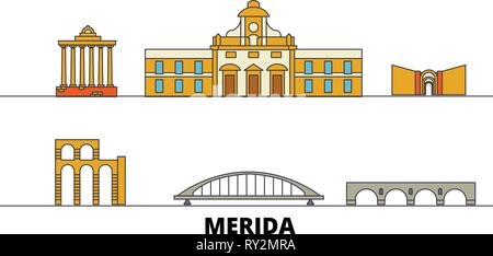 Spain, Merida flat landmarks vector illustration. Spain, Merida line city with famous travel sights, skyline, design.  - Stock Photo
