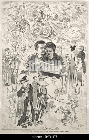 St. Valentine's - The Old Story in All Lands, 1868. Winslow Homer (American, 1836-1910). Wood engraving - Stock Photo