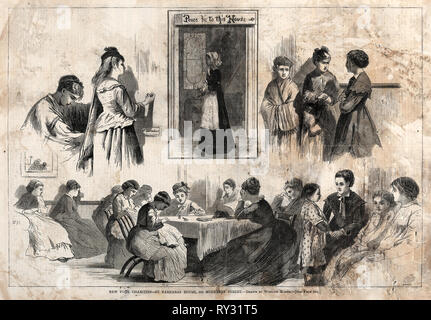 New York Charities - St. Barnabas House, 304 Mulberry Street, 1874. Winslow Homer (American, 1836-1910). Wood engraving - Stock Photo