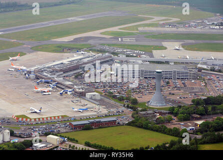 Aerial view of Edinburgh airport, Turnhouse, Edinburgh - Stock Photo