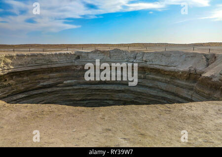 Darvaza Mud Volcano Crater Pit Section View - Stock Photo