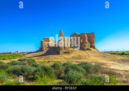 Mary Turkmenistan Little Kyz Qala Fortress at Sunset - Stock Photo