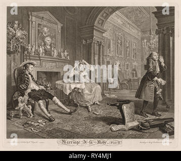 Marriage à la Mode:  Plate II, 1745. William Hogarth (British, 1697-1764). Etching and engraving; platemark: 38 x 46.4 cm (14 15/16 x 18 1/4 in - Stock Photo