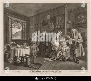 Marriage à la Mode:  The Death of the Countess, 1745. William Hogarth (British, 1697-1764). Engraving - Stock Photo