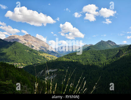 Beautiful summer landscape in the Alps mountains, near Sestriere ski resort, Italy - Stock Photo