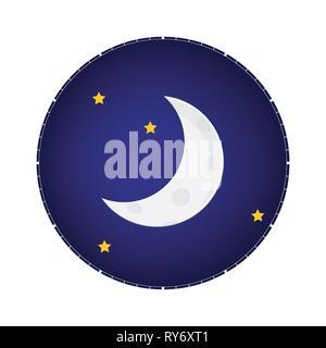 Mystical Night sky with half moon and stars. Moonlight night - Stock Photo