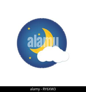 Mystical Night sky with half moon, clouds and stars. Moonlight night - Stock Photo