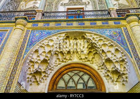 Tehran Masoudieh Palace Gate Muqarna Ahoopay Honeycomb Stalactite Vaulting - Stock Photo