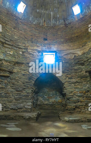 Tash Rabat Caravanserai Settlement Ruins for Ancient Traders Travellers and Caravans Interior Corridor - Stock Photo
