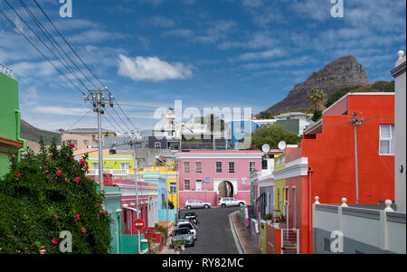 The Multi Coloured Houses of Bo Kaap with Lions Head Mountain behind, Cape Town, Western Cape, South Africa - Stock Photo