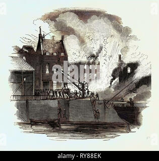 Fire at Boston, from a Drawing by Mr. W. Caister - Stock Photo