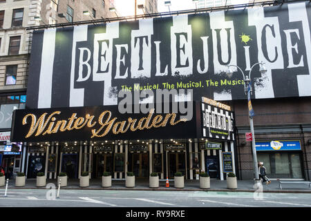 'Beetlejuice' Marquee at the Winter Garden Theatre on Broadway, New York City, USA - Stock Photo