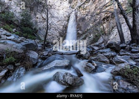 Sturtevant Falls and Creek with motion blur.  A popular Angeles National Forest natural area in the San Gabriel Mountains above Los Angeles and Pasade - Stock Photo
