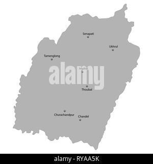 High Quality map of Manipur is a state of India. With main cities location - Stock Photo