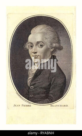 Jean Pierre Blanchard, London Published by I. Sewel, Cornhill, July 1st, 1785 , Half-Length Portrait of French Balloonist Jean-Pierre Blanchard - Stock Photo
